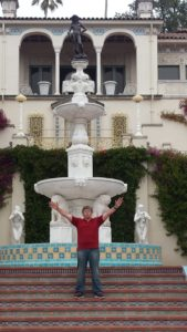 Dr. D at the Hearst Castle. Driving the Pacific Hwy for a breathtaking vacation